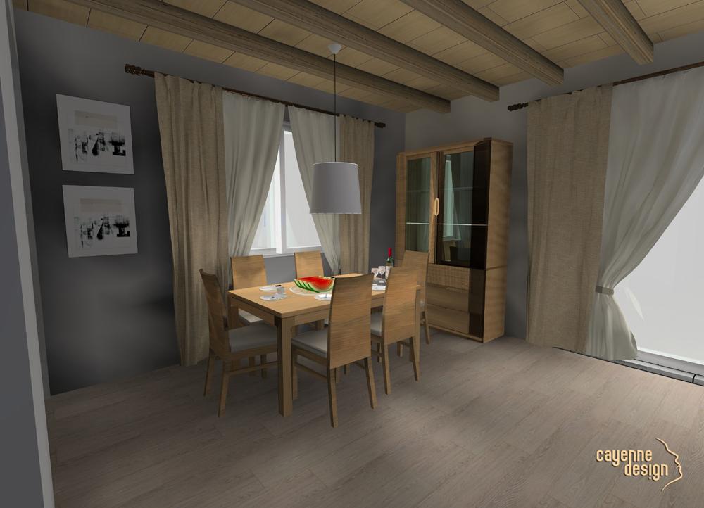 Wizualizacja salon w stylu ETNO