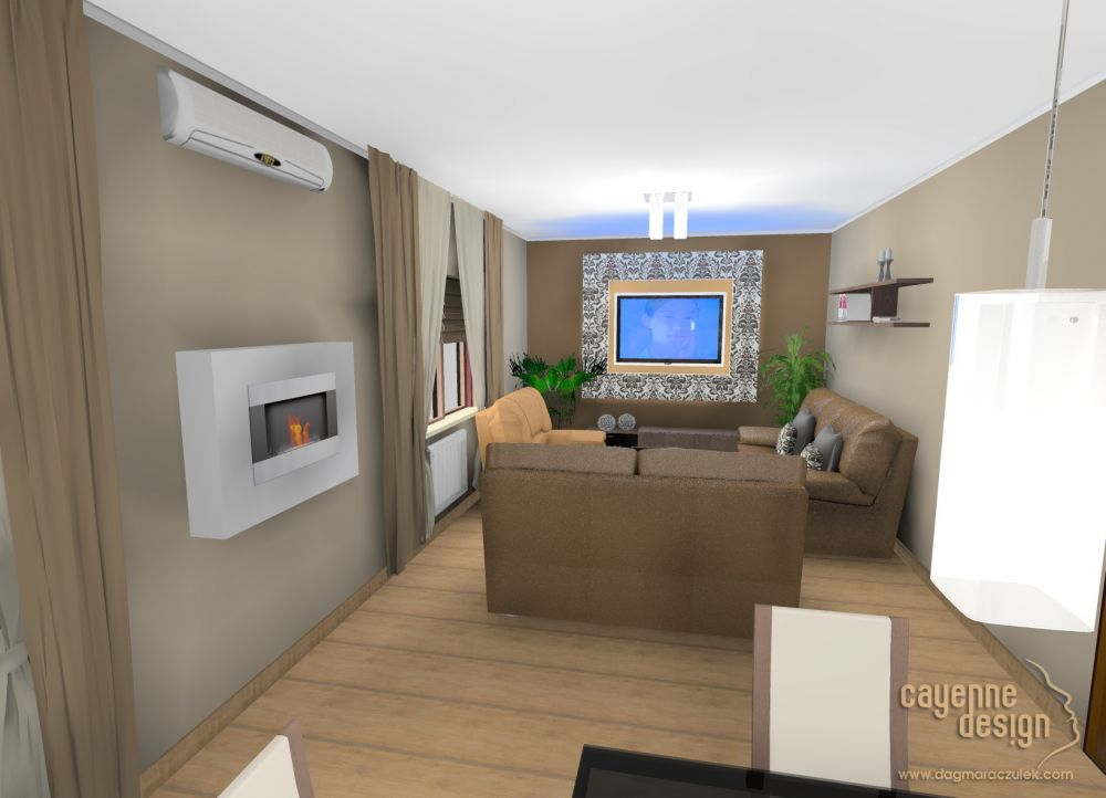 Wizualizacja salonu z nowym biokominkiem